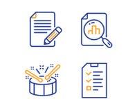 Artikel, Analytics-grafiek en geplaatst Trommelspictogrammen Gespreksteken Terugkoppeling, Grafiekrapport, Trommelstokken Vector stock illustratie