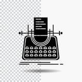 Artikel, blog, verhaal, schrijfmachine, schrijver Glyph Icon op Transparante Achtergrond Zwart pictogram royalty-vrije illustratie