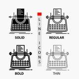 Artikel, blog, verhaal, schrijfmachine, schrijver Icon in Dunne, Regelmatige, Gewaagde Lijn en Glyph-Stijl Vector illustratie vector illustratie