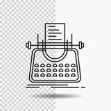 Artikel, blog, verhaal, schrijfmachine, schrijver Line Icon op Transparante Achtergrond Zwarte pictogram vectorillustratie vector illustratie