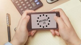 Artikel 13 het amendement bij de EU-wetgeving verbood media materialen op Internet royalty-vrije stock fotografie