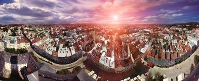 Artikel med ensamrätt-limmad panorama Lviv Fotografering för Bildbyråer