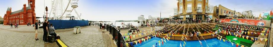ARTIKEL MED ENSAMRÄTT - Panorama av Cardiff skeppsdockor arkivbild