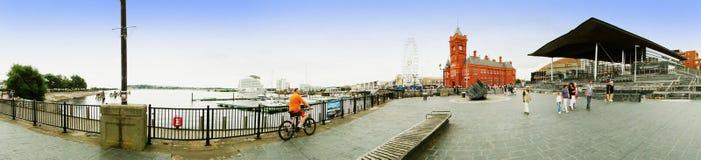 ARTIKEL MED ENSAMRÄTT - Panorama av Cardiff skeppsdockor arkivfoto