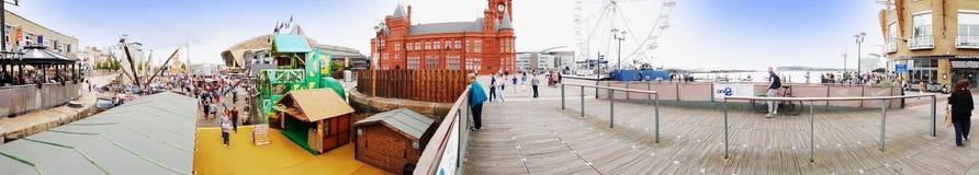 ARTIKEL MED ENSAMRÄTT - Panorama av Cardiff skeppsdockor fotografering för bildbyråer