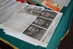 Artikel over de vergadering van Churchill, Stalin en Roosevelt stock fotografie