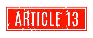 Artikel 13 rode rubberzegel stock illustratie