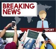 Artikel-Sendungs-Schlagzeilen-Zeitschriften-Konzept der letzten Nachrichten Stockfoto
