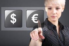 Artikelhandel - handla dollareuro för valuta Fotografering för Bildbyråer