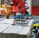 Artikulerad robotic arm på den förpackande linjen royaltyfria foton