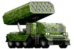 Artilharia de Rocket, lançador de míssil com camuflagem do verde do pixel com projeto imaginário - objeto isolado no fundo branco fotografia de stock royalty free