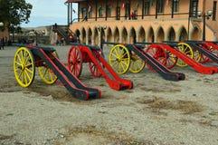 Artillería - armamento en el castillo de Eger, Eger Hungría foto de archivo