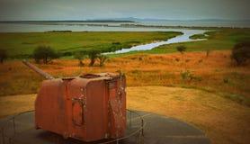 Artillería costera en Oregon Foto de archivo