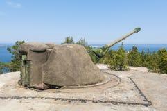 Artillería costera Suecia de la guerra fría Imagen de archivo libre de regalías