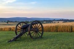 Artillería en el campo de batalla del nacional de Antietam Imagen de archivo