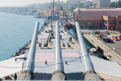 Artillería montada a bordo del acorazado USS Iowa Fotografía de archivo libre de regalías