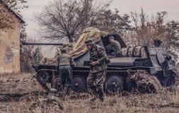 Artillería y soldados automotores alemanes Foto de archivo libre de regalías
