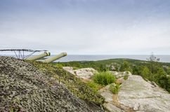 Artillería costera Hemso Suecia de la guerra fría Foto de archivo libre de regalías