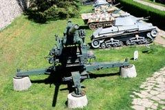 Artilleri är en grupp av stora militära vapen som byggs för att avfyra ammunitionar Royaltyfri Bild