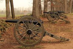 Artilleri på seminariet Ridge i Gettysburg den nationella militären parkerar Royaltyfria Foton