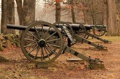 Artilleri på seminariet Ridge i Gettysburg den nationella militären parkerar Arkivfoton