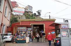 Artilleria funicular koleje w Valparaiso, Chile Fotografia Royalty Free