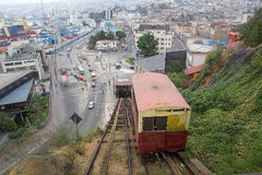 Artilleria funicular koleje w Valparaiso, Chile Zdjęcia Stock
