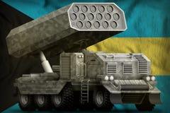 Artillerie de Rocket, lance-missiles avec le camouflage gris sur le fond de drapeau national des Bahamas illustration 3D illustration stock