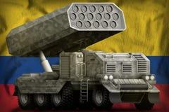 Artillerie de Rocket, lance-missiles avec le camouflage gris sur le fond de drapeau national de la Colombie illustration 3D illustration de vecteur