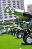 Artillerie voor 21 kanonbegroeting tijdens repetitie NDP Stock Foto