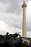 Artillerist op klaar Stock Foto's