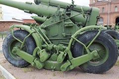 Artilleriutläggning i den öppna luften Museum för militär historia arkivfoto