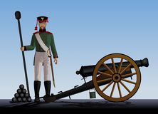 Artillery. Man stands next to the cannon. Ancient guns. Vector illustration Stock Photography