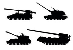 Artillery. Tracked self-propelled howitzer vector silhouettes set stock illustration