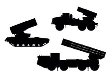 Artillery. Multiple launch rocket system (MLRS) vector silhouettes set royalty free illustration
