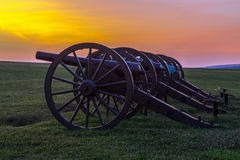 Artillery at Antietam National Battlefield. Four pieces of artillery in a row at Antietam National Battlefield in Sharpsburg, Maryland. The battle at Antietam Royalty Free Stock Photography