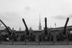 Artillery Arsenal. Black and white stock image