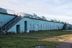 Artillery battery, Fort Constantine. Kronstadt royalty free stock image