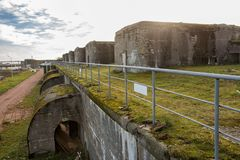 Artillery battery, Fort Constantine, Kronstadt royalty free stock photography