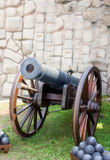 Artillery cannon gun old style model. Stock Photo