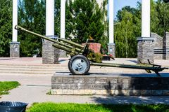 Artillery cannon of soviet army, monument stock photography