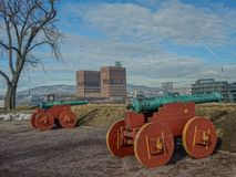 Ancient cannons in one of the towers of the Akershus fortress, O stock photo