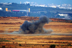 Artillery Corps - Israel. GAZA STRIP - JULY 04:Israeli rocket explodes in open field to prevent from terrorists to fire Qassam rockets on July 4 2006.Since Stock Photos