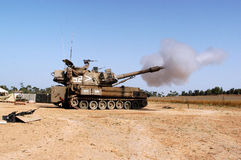 Artillery Corps - Israel. NACHAL OZ , ISR - JULY 06:Israeli artillery M109 howitzer on July 6 2006.Its the most common Western indirect-fire support weapon of Stock Photo