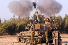 Artillery Corps - Israel. NACHAL OZ , ISR - JULY 01:Israeli artillery M109 howitzer on July 1 2006.During 2006 Lebanon War the Israeli Artillery Corps was second Royalty Free Stock Image
