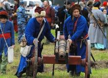 Artillery detachment by the cannon Royalty Free Stock Photos