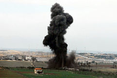 Artillery explosion in Gaza Strip. GAZA STRIP - DECEMBER 27: Artillery explosion in Gaza Strip during Cast Lead operation on December 27 2008. It was a three Stock Photography