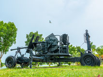 Artillery field gun. Army artillery cannon use for defense and attack Royalty Free Stock Image
