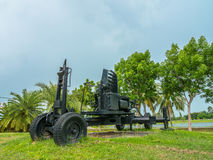 Artillery field gun. Army artillery cannon use for defense and attack Royalty Free Stock Photography