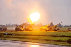 Artillery fire test shots during military show NATO DAYS Stock Photography